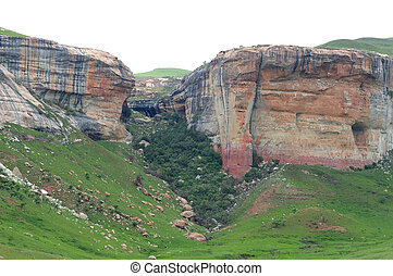 Red, orange and yellow sandstone cliffs