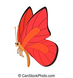 Red-orange butterfly icon, cartoon style