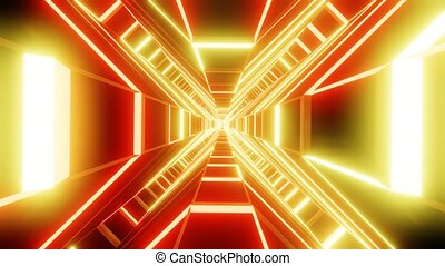 Red orange cross shape tunnel abstract animation. loop able Sci-fi abstract backdrop.