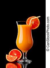 Red orange juice reflection