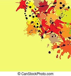 Red orange maroon ink splashes background copy space square