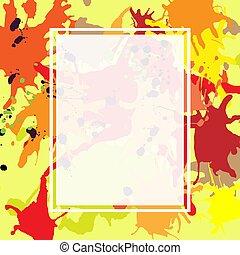 Red orange maroon ink splashes ellipse frame template