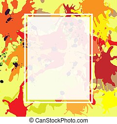 Red orange maroon ink splashes ellipse frame template