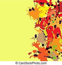 Red orange maroon ink splashes background copy space