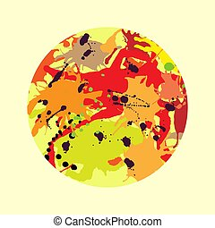Red orange maroon ink splashes round frame template