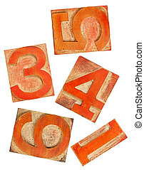 red orange numbers in wood type
