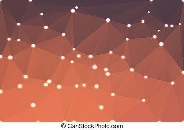 Red orange purple geometric background with lights