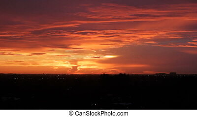 Red Orange Sunset Fort Lauderdale - Red orange yellow sunset...