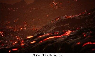 Red Orange vibrant Molten Lava flowing onto grey lavafield ...