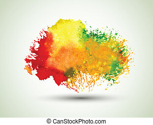 watercolor blot - Red-orange watercolor blot