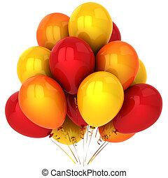 Red orange yellow balloons
