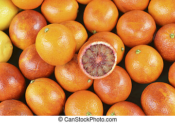 Red oranges of Sicily on the market