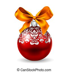 Red orb and ribbon