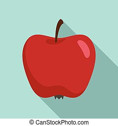 Red organic apple icon, flat style