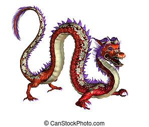 Red Oriental Dragon - 3D render