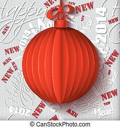 Red origami Christmas ball