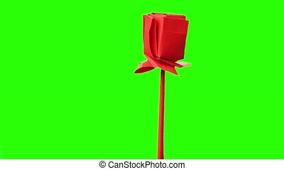 Red origami flower on exeposition. Green hromakey background...