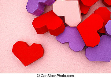Red Origami Heart With Some Other Hearts