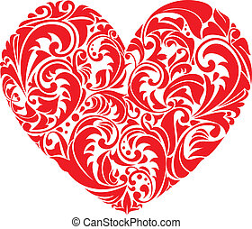 Red ornamental  floral heart on white background. Element for your Valentine`s Day Design