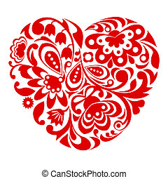 Red ornamental heart.