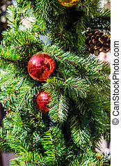 Red Ornaments on Fir Tree at Christmas