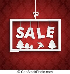 Red Ornaments White Frame Christmas Sale