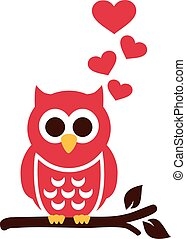 Red Owl in love with hearts