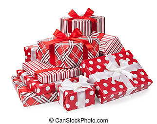 Red oxes with gifts tied bows on white background