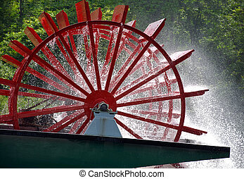 red paddle wheel on river boat - Red paddle wheel on vintage...