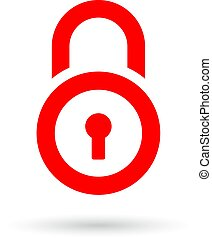 Red padlock vector icon