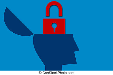 Red padlock with open human head