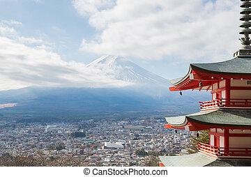 Mountain Fuji landscape - Red pagoda with Mountain Fuji ...