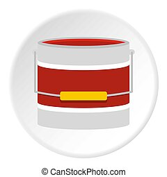 Red paint bucket icon circle