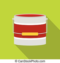 Red paint bucket icon, flat style