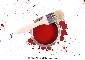 Red paint can with brush and color stains