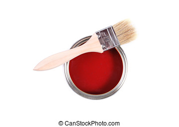 red paint can with brush isolated on a white background