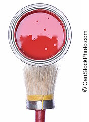 Red paint can with paintbrush isolated on white background