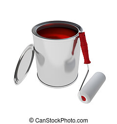 red Paint Can with roller brush isolated on white