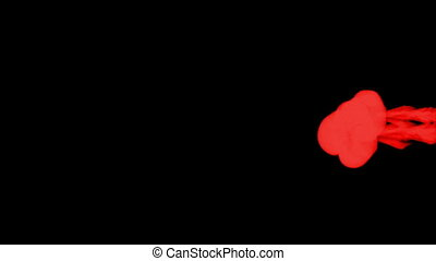 red paint dissolved in water on a black background. 3d render. voxel graphics. computer simulation 11