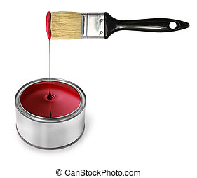 Red paint dripping brush