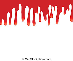Red paint dripping down. Space for text, or a design, vector illustration