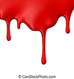 Red paint dripping isolated over white background. 3D