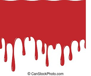red paint dripping seamless pattern. blood flows. abstract blob. White background.