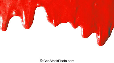 Red paint on a white background.
