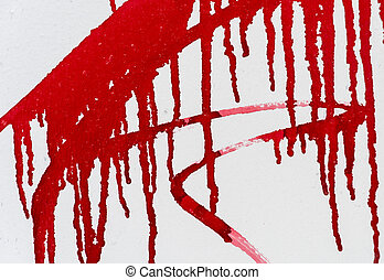 Red paint on white wall