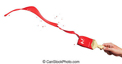 red paint splash - hand holding paintbrush creating splash...