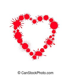 Red paint splash heart