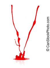 red paint splashing on white