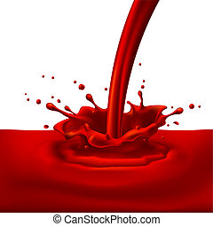 Pouring of red paint with splashes. Bright illustration on white background