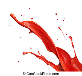 red paint splashing - red paint splash isolated on white...